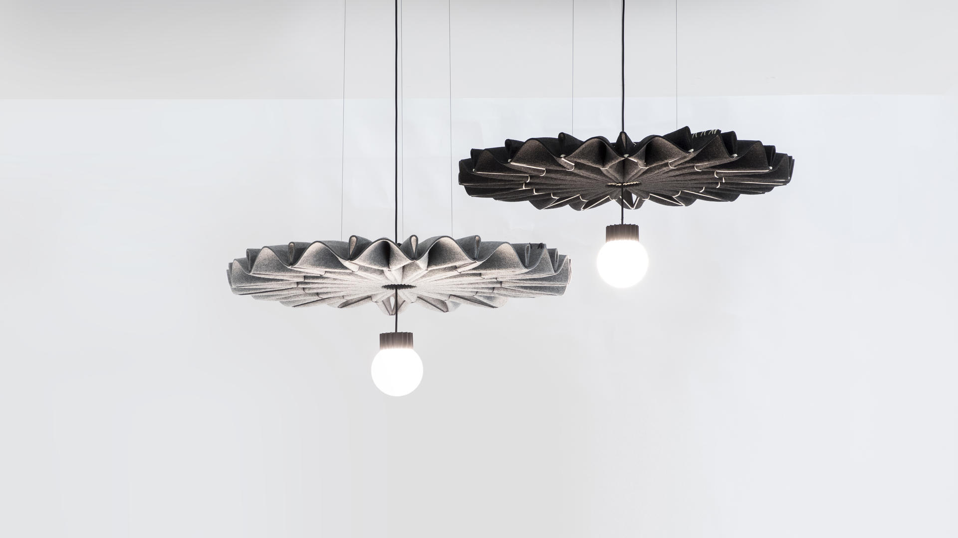Buzzi & Buzzi Lighting buzzipleat led, sculptural acoustic pendant lighting